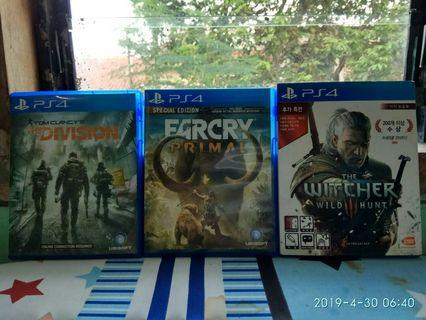 BR PS 4 Set Blueray game witcher 3 farcry primal the division