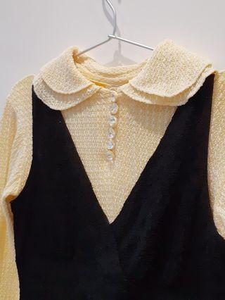 🚚 古着【百米衣櫥】雙層領排扣黃上衣