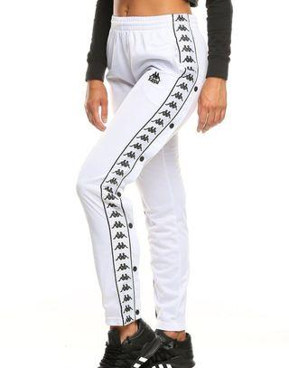 White popper kappa track pants