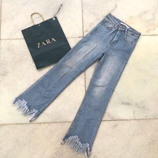 ZARA Trafaluc Denimwear Fringe Jeans