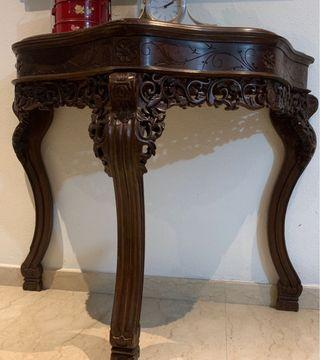 Antique Half Moon Table,oriental design & marble top