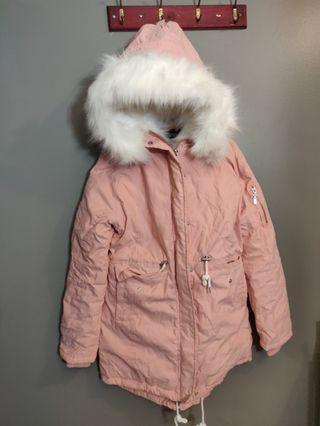 Pink Winter Parka with White Fur