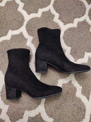 Black Suede Sock-Style Ankle Booties