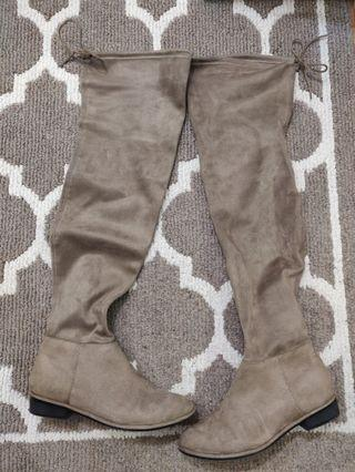 CALL IT SPRING Taupe / Grey Suede Thigh High Boots