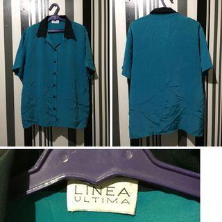 Bluish green amd black button down blouse