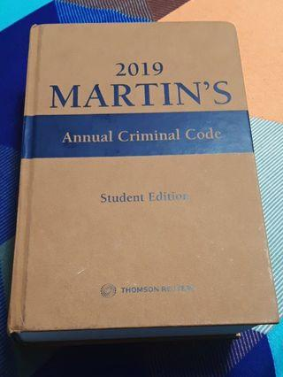 2019 Martin's Annual Criminal Code Student Edition