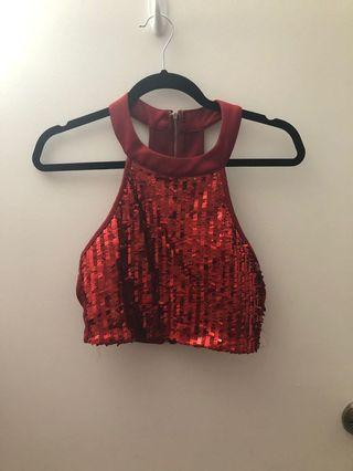 Red sparkly halter top