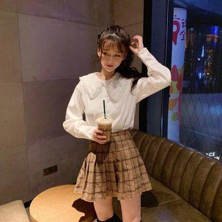 🚚 蕾絲花邊 娃娃領襯衫 長袖可愛上衣打底衫 #半價衣服拍賣會