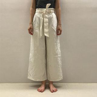 高腰綁帶寬褲