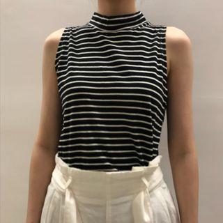 韓國無袖微高領條紋上衣
