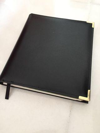 Black Leather Hardcover of Pocket Diary Planner