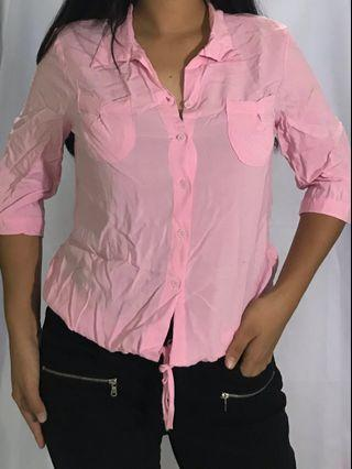 PINK BLOUSE OFFICE SHIRT PARTY