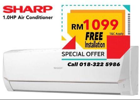 FREE Installation Sharp 1HP Aircond
