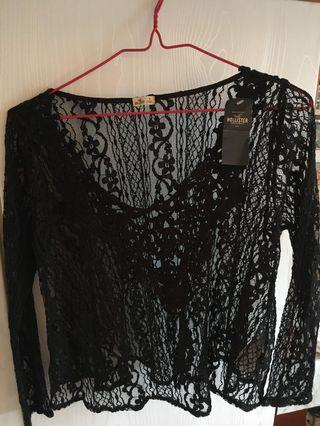 Hollister black lace top