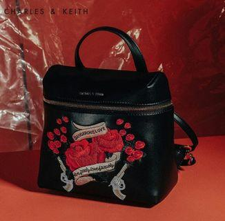 NEW Charles&Keith Embroidered Backpack