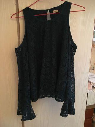 Dark green hollister lace top