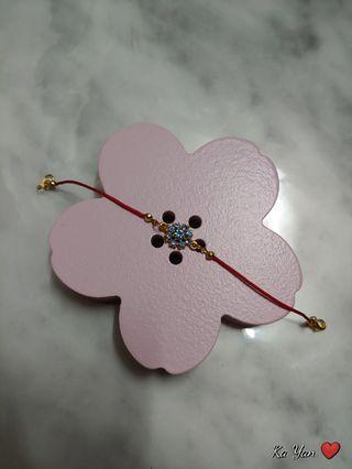 粉藍花花閃石紅繩/手鏈 bracelet