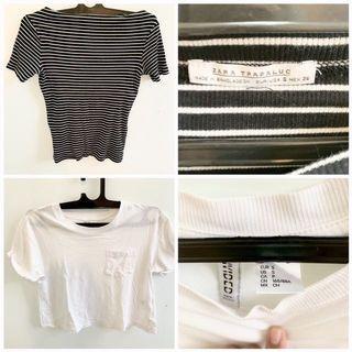 White Shirt and Zara Basic Stripe Shirt