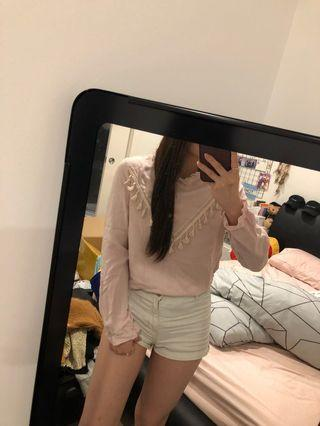 PINK HIGH NECK LONG SLEEVE TOP