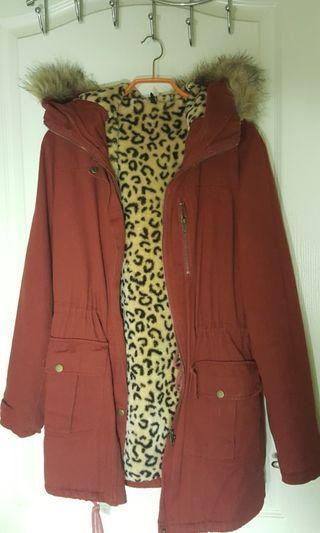 🚚 酒紅色長版豹紋刷毛外套