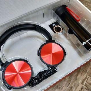 全新  耳機+手機指環扣支架+水瓶220ml