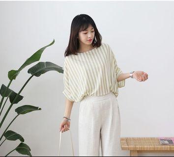 🚚 韓國 清新氣質淺直條微飛鼠袖感薄棉上衣(4色)