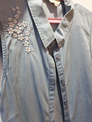 F&F Denim Tie Top