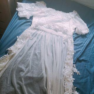 99%new white lace beach dress