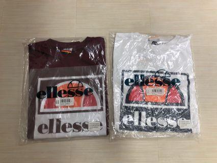 Ellesse Logo T shirt White / Burgundy Size M