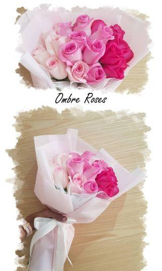 🚚 Ombre Roses Bouquet | Mother's Day Bouquet | Special Offer | Fresh Flowers | Graduation Bouquet