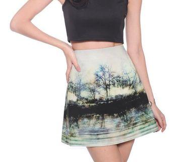 Love bonito Sanzia Forest Print Neoprene Skirt