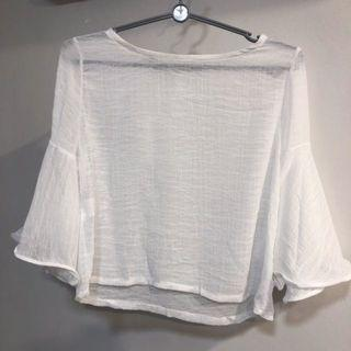 White Sheer Trumpet Sleeve Flare Top Blouse Innerwear