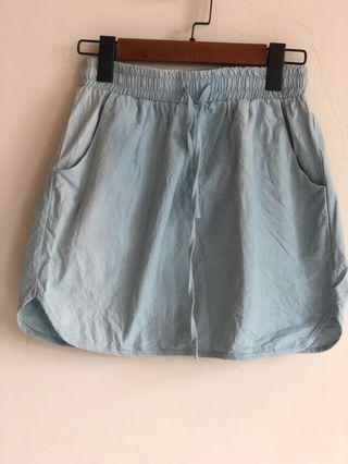 Pazzo 牛仔色 棉麻 短裙 A字裙 鬆緊設計
