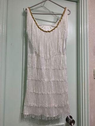 復古白色線連身裙9成新