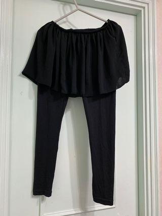 全黑裙legging