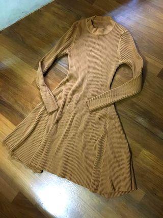 🚚 大地色系 薑黃針織洋裝 連身裙