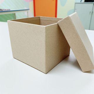 Empty Gift Box with Lid - Square Cardboard Mache Craft