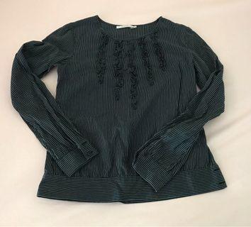 🚚 深藍直條紋圓領襯衫,衣長59公分,袖長59公分,肩寬37公分(誤差三公分)