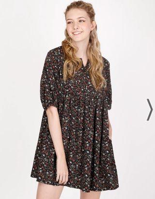 🚚 AForArcade Bella Flora Babydoll Dress - Black