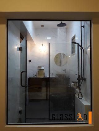 Black Series Tempered Glass Shower Screen