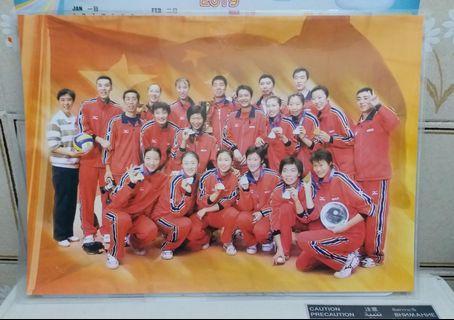 中國女子排球隊親筆簽名海報