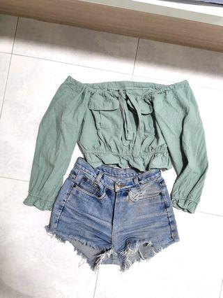 Green off shoulder ribbon top