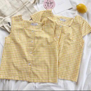 韓系 格子 棉麻 短袖上衣
