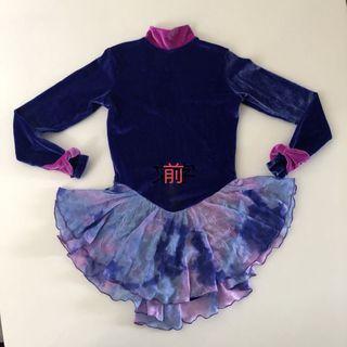 女童絲絨藍色溜冰衣