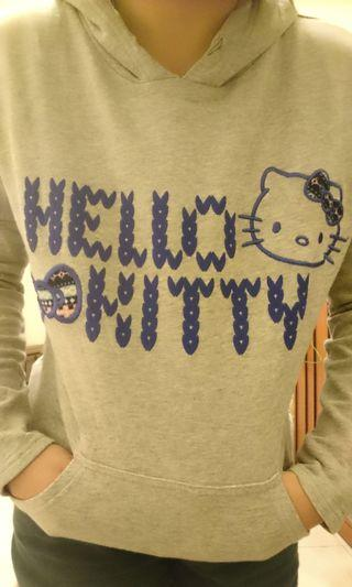 百貨購入)Hello Kitty 灰色連帽貓耳T恤 Ki Ra Ra 帽T 可愛 率性
