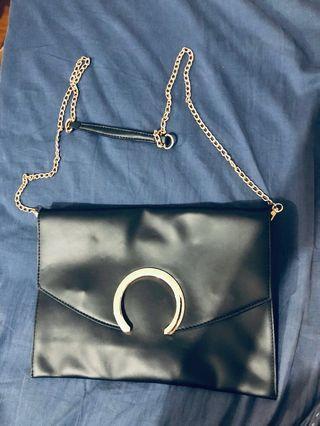全新黑色信封鏈條信封包 肩背包