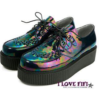 好萊塢歐美underground感高質感百搭耐穿真皮鐳射黑厚底英倫編織龐克鞋tuk附鞋盒+防塵套