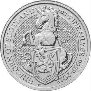 2018 The Queen's Beast – Unicorn of Scotland 2 Oz Silver Coin (include capsule)