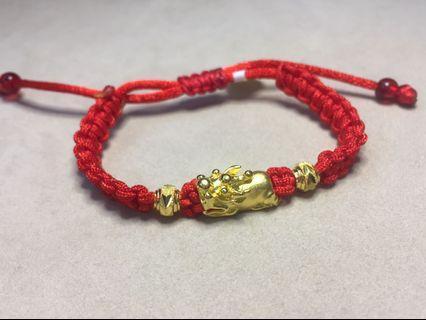 🚚 京和珠寶工坊-純金9999 紅線獅頭 手鍊