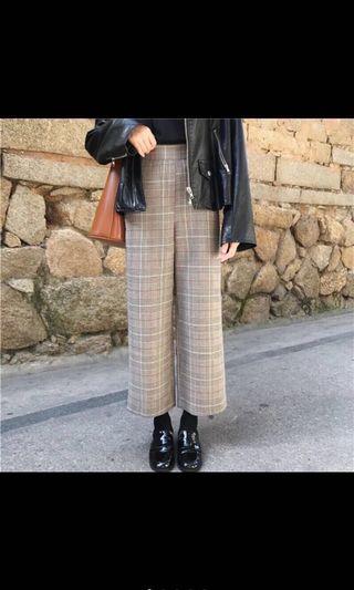 🚚 英倫格紋寬褲